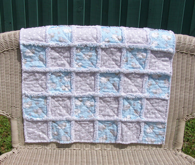 Blue Sheep Gray Polka Dot Flannel Rag Quilt Toddler Infant Baby Reborn 28