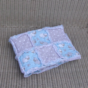 "Blue Sheep Gray Polka Dot Flannel Rag Quilt Toddler Infant Baby Reborn 28"" Square - Beachside Knits N Quilts"
