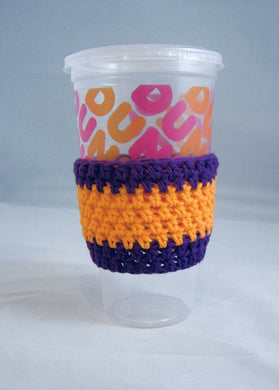 Purple Orange Crochet Hot or Iced Coffee Cozy - Iced Drink Sleeve - 100% Cotton - Beachside Knits N Quilts