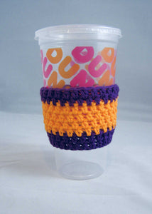 Purple Orange Crochet Hot or Iced Coffee Cozy - Iced Drink Sleeve - 100% Cotton | Beachside Knits N Quilts