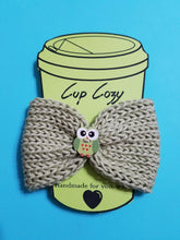 Load image into Gallery viewer, Knitted Coffee Cozy with Button - Hot Drink Sleeve - Green Owl | Beachside Knits N Quilts