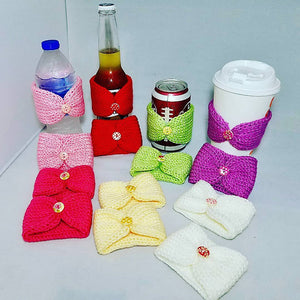 Knitted Coffee Cozy with Button - Hot Drink Sleeve - Team Colors | Beachside Knits N Quilts