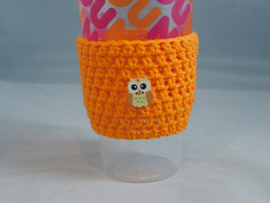 Orange Owl Crochet Hot or Iced Coffee Cozy - Iced Drink Sleeve - 100% Cotton | Beachside Knits N Quilts