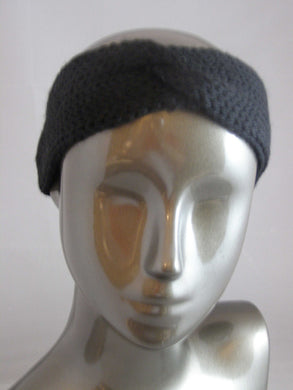 Twisted Headband Ear Warmer Knitted Black - Beachside Knits N Quilts