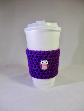 Purple Owl Crochet Hot or Iced Coffee Cozy - Iced Drink Sleeve - 100% Cotton | Beachside Knits N Quilts