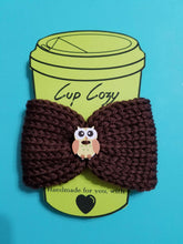 Load image into Gallery viewer, Knitted Coffee Cozy with Button - Hot Drink Sleeve - Brown Owl Button | Beachside Knits N Quilts