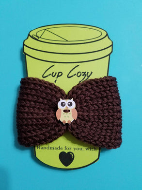 Knitted Coffee Cozy with Button - Hot Drink Sleeve - Brown Owl Button - Beachside Knits N Quilts