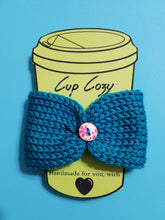 Load image into Gallery viewer, Knitted Coffee Cozy with Button - Hot Drink Sleeve - Teal Floral Button - Beachside Knits N Quilts