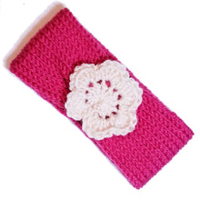 Load image into Gallery viewer, Newborn to Toddler Size Knitted Headband Crochet Flower - Rouge Pink | Beachside Knits N Quilts