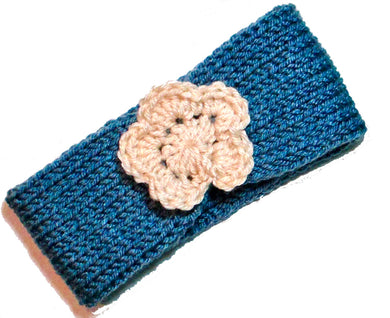 Newborn to Toddler Size Knitted Headband Crochet Flower - Denim Blue | Beachside Knits N Quilts