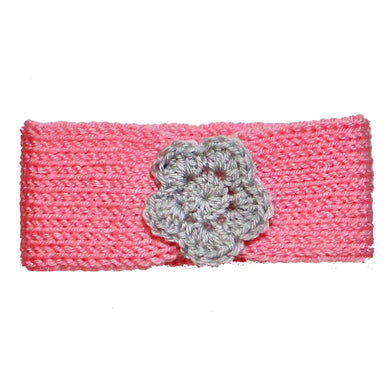 Newborn to Toddler Size Knitted Headband Crochet Flower - Cotton Candy Pink | Beachside Knits N Quilts
