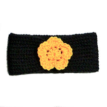 Load image into Gallery viewer, Newborn to Toddler Size Knitted Headband Crochet Flower - Black Gold - Pittsburgh Baby | Beachside Knits N Quilts