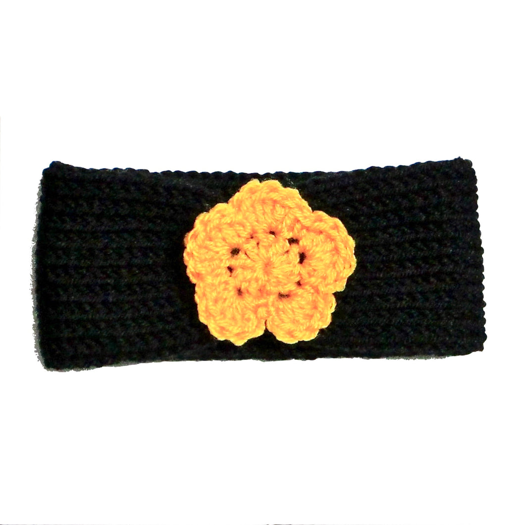 Newborn to Toddler Size Knitted Headband Crochet Flower - Black Gold - Pittsburgh Baby | Beachside Knits N Quilts