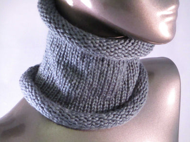 Snug Fit Slouchy Cowl - Charcoal Gray - Knitted - Casual | Beachside Knits N Quilts