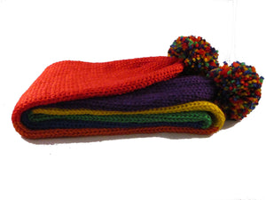 Long Scarf - Pom Poms - Striped - Rainbow - Knitted - Beachside Knits N Quilts