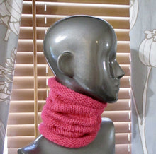 Load image into Gallery viewer, Snug Fit Slouchy Cowl - Bulky Weight - Casual - Knitted - Rouge Pink | Beachside Knits N Quilts