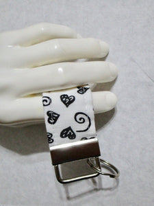 Mini Finger Key Chain Key Fob - White Black Hearts | Beachside Knits N Quilts