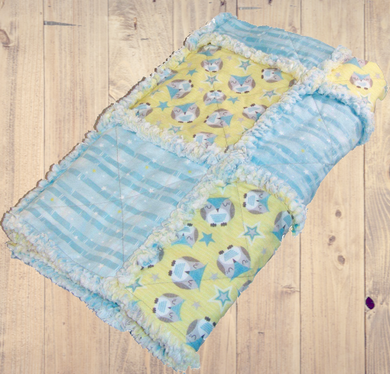 Owl Rag Quilt Crib Size Gender Neutral Blue Yellow - Beachside Knits N Quilts