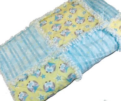 Owl Rag Quilt Crib Size Gender Neutral Blue Yellow | Beachside Knits N Quilts