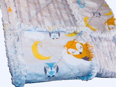 Fox Owl Rag Quilt Crib Size Gender Neutral - Beachside Knits N Quilts