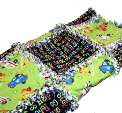 Rag Quilt Crib Size Gender Neutral Green Black Fire Truck Police Ambulance | Beachside Knits N Quilts