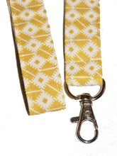 Load image into Gallery viewer, Yellow White Seamless Cotton Lanyard Keychain Swivel Clasp | Beachside Knits N Quilts