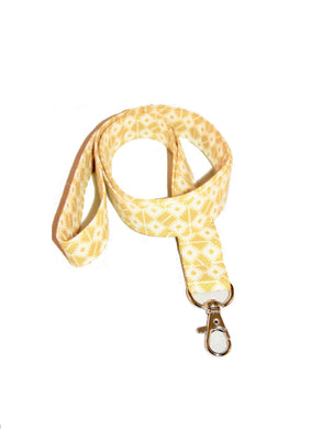 Yellow White Seamless Cotton Lanyard Keychain Swivel Clasp | Beachside Knits N Quilts