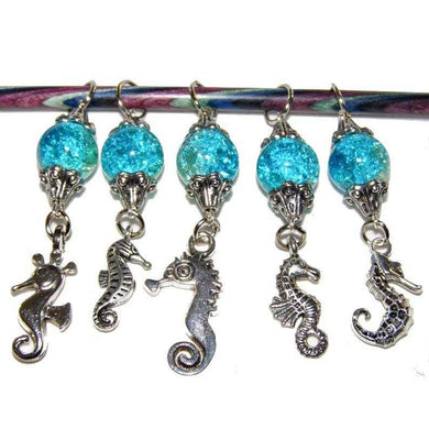 Knitting Stitch Markers Seahorse Blue Size 10 6.0 MM Set of 5 | Beachside Knits N Quilts