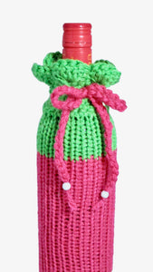 Wine Bottle Cozy / Gift Bag / Knitted / Reusable / Pink Green / Watermelon | Beachside Knits N Quilts