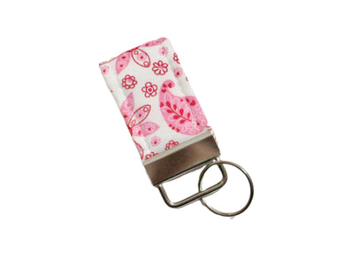 Mini Finger Key Chain Key Fob - Pink White Paisley | Beachside Knits N Quilts