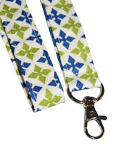 Load image into Gallery viewer, Medallion Green Blue White Seamless Cotton Lanyard Keychain Swivel Clasp - Beachside Knits N Quilts