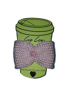Knitted Coffee Cozy with Button - Hot Drink Sleeve - Beige Floral Button - Beachside Knits N Quilts