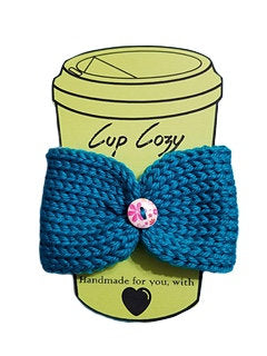 Knitted Coffee Cozy with Button - Hot Drink Sleeve - Teal Floral Button - Beachside Knits N Quilts