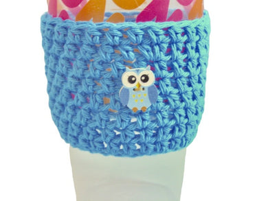 Blue Owl Crochet Hot or Iced Coffee Cozy - Iced Drink Sleeve - 100% Cotton - Beachside Knits N Quilts