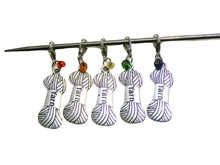 Load image into Gallery viewer, Knitting & Crochet Removable Stitch Markers YARN Charm Rainbow Beads - Set of 5 | Beachside Knits N Quilts