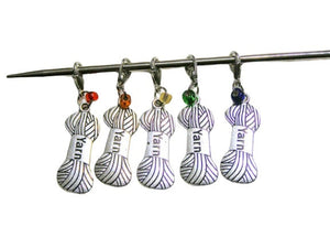 Knitting & Crochet Removable Stitch Markers YARN Charm Rainbow Beads - Set of 5 | Beachside Knits N Quilts