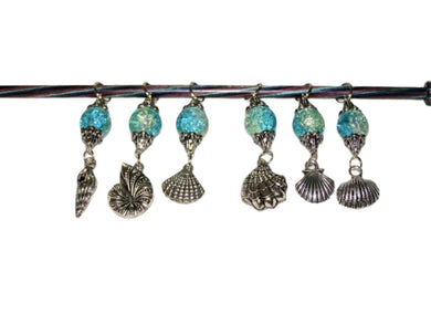 Knitting Stitch Markers Seashells Blue Size 10 6.0 MM Set of 6 | Beachside Knits N Quilts