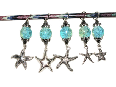 Knitting Stitch Markers Starfish Blue Size 10 6.0 MM Set of 5 - Beachside Knits N Quilts