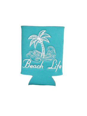 Beach Life Palm Tree Surf Can Cozy Neoprene Embroidered Dark Teal - Beachside Knits N Quilts