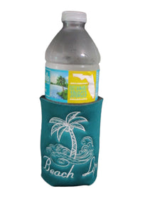 Beach Life Palm Tree Surf Can Cozy Neoprene Embroidered Dark Teal | Beachside Knits N Quilts