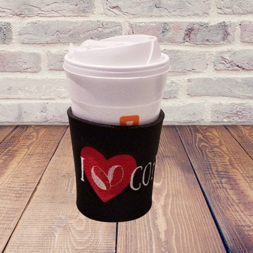 I Love Coffee Embroidered Neoprene Coffee Sleeve Reusable | Beachside Knits N Quilts