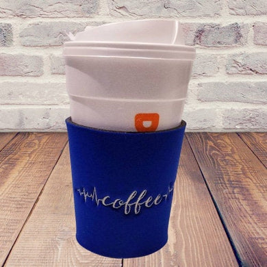 Coffee Life Line Embroidered Neoprene Coffee Sleeve Reusable Blue - Beachside Knits N Quilts