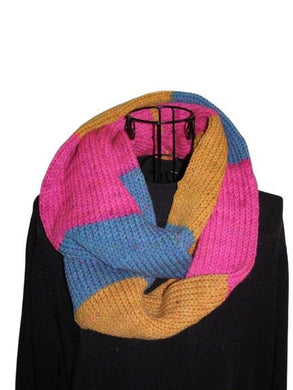 Jellopop Infinity Scarf Pink Gold Teal Knitted - Beachside Knits N Quilts