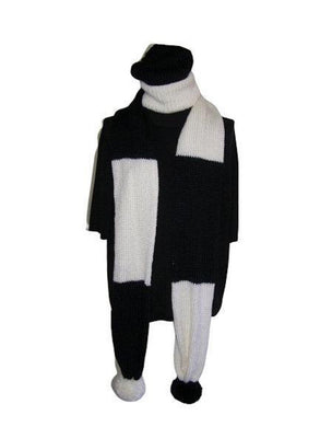 Black Winter White Color Block Scarf Hat Set Knitted - Beachside Knits N Quilts