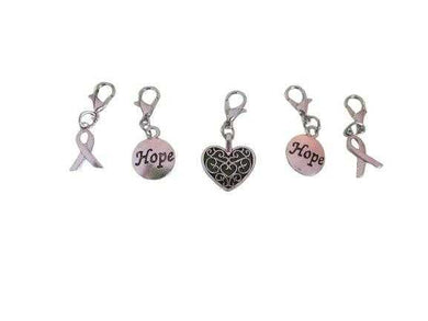 Removable Knitting Stitch Markers - Hope Heart Awareness Ribbon - Set of 5 - Lobster Claw - Beachside Knits N Quilts
