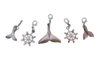 Removable Knitting Stitch Markers - Whale Tales Sailing Helms - Set of 5 - Lobster Claw | Beachside Knits N Quilts
