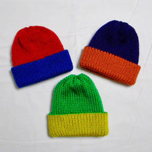 Load image into Gallery viewer, Team Spirit Infant Hats - Newborn to 6 Months - Knitted - Reversible - Green Yellow - Beachside Knits N Quilts