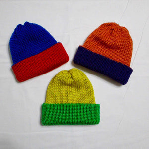 Team Spirit Infant Hats - Newborn to 6 Months - Knitted - Reversible - Green Yellow - Beachside Knits N Quilts