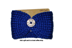 Knitted Coffee Cozy with Button - Hot Drink Sleeve - Blue Gray Wood Button - Beachside Knits N Quilts