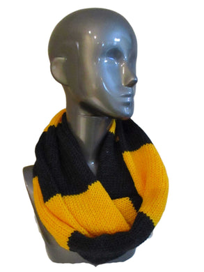 Black Gold Rugby Striped Knitted Infinity Scarf | Beachside Knits N Quilts